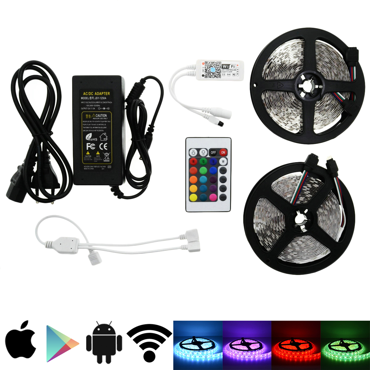5M 10M 15M Wifi Controller 5050 RGB LED Strip light lamp Waterproof IP20 neon Flexible Tape diode ribbon DC 12V adapter set