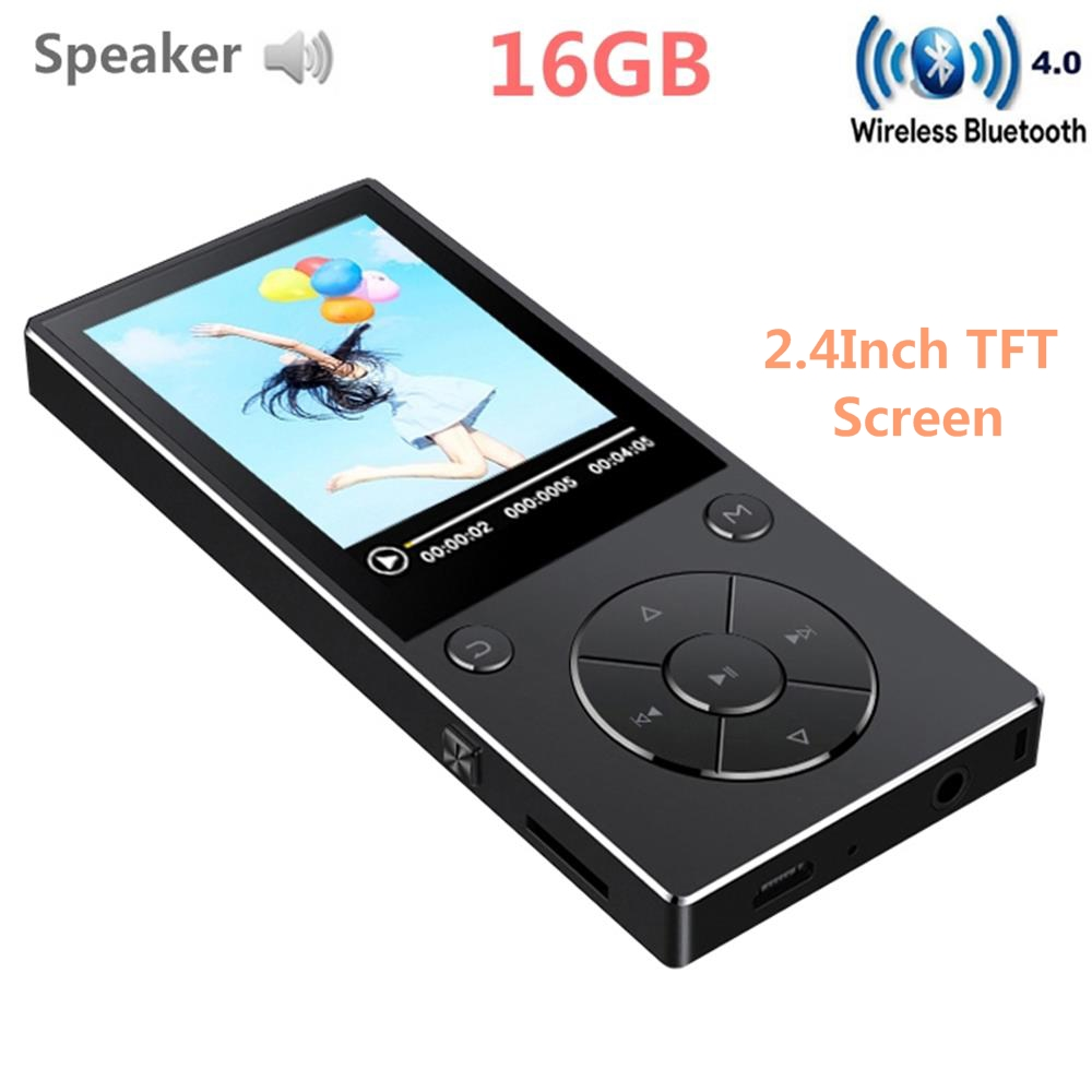 Hot Sale HIFI Bluetooth MP4 Player 16GB with 2.4 HD Screen Built-in Speaker MP4 Music Video Player, Support SD Card Up To 128GB