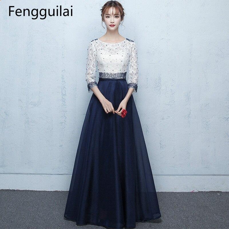 Fengguilai longues robes de nuit formelles perles mode Robe Vestidos bal grande taille Maxi plissée Sexy Robe de soirée