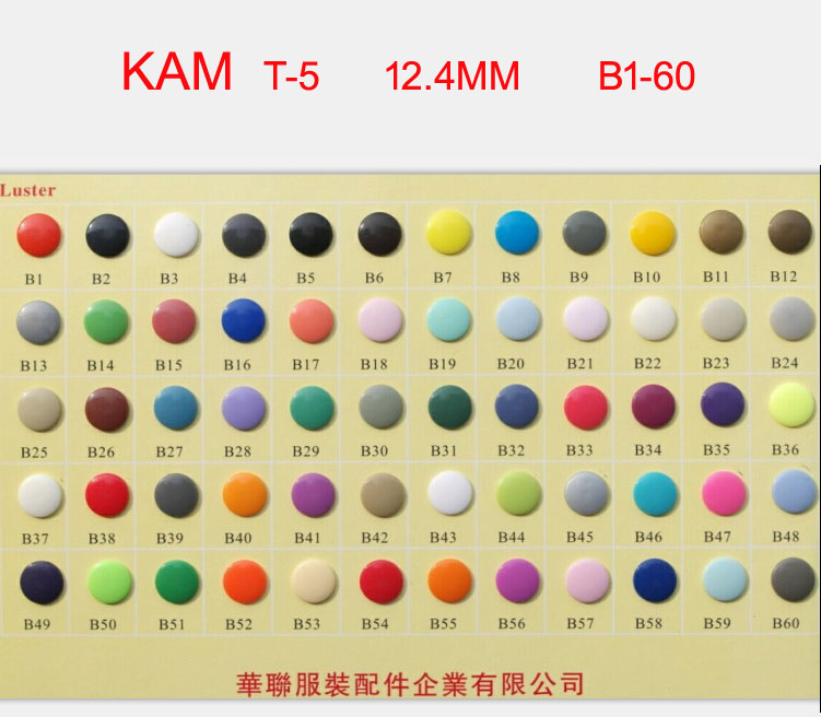 Ev ve Bahçe'ten Düğmeler'de DHL Ücretsiz Nakliye 6000 setleri Orijinal T 5 Boyutu 20 Kam Bezi Plastik Çıtçıt Düğme Yapış fasterner 1000 takım/renk 60 renk'da  Grup 1
