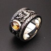 Birthday gift men's ring domineering personality retro Titanium Single Zircon jewelry fashion