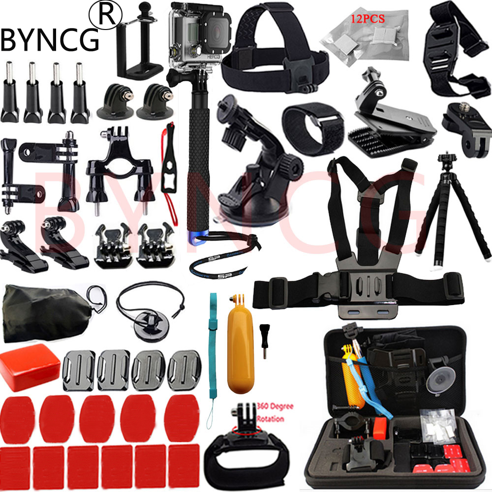 Galleria fotografica BYNCG for Go Pro Accessories Set GoPro Hero 6543 Kit Mount Wifi SJCAM SJ4000 Xiaomi Yi 4K Eken H9 Gitup Git2 Pro Action Camera