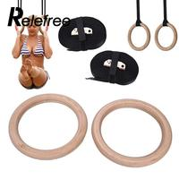 New Wooden 28mm Exercise Fitness Gymnastic Rings Gym Exercise Pull Ups Muscle Ups Adjustable Crossfit Muscle