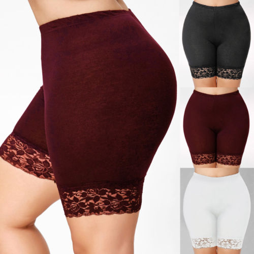 Ladies   Leggings   Hot Pants Jersey Gym Biker Tights Womens Scallop Lace Trim Cycling Shorts