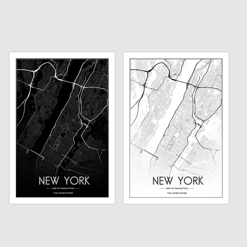 Line Art Studio Serpong : Custom map print creative nordic customizable new york