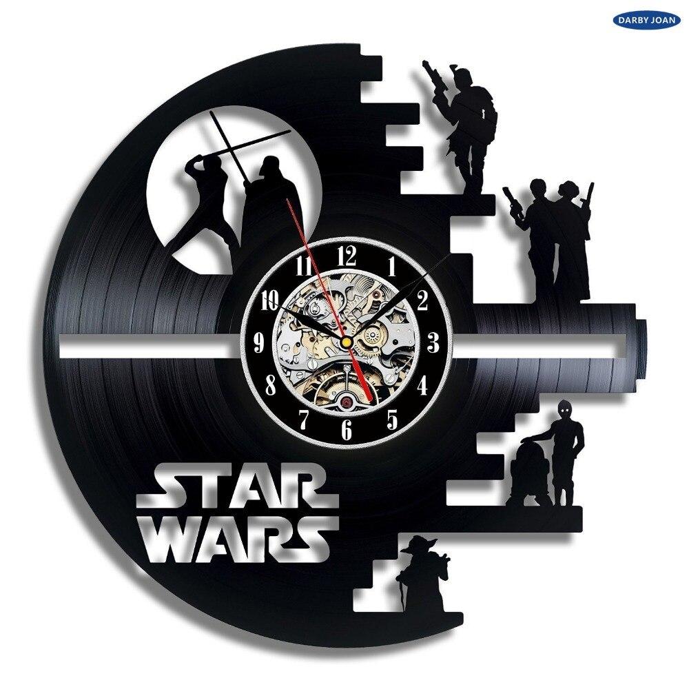 Wandklok creative clock cd vinyl record wall clock film star wars theme home decor 3d hanging - Darth vader wall clock ...