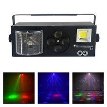 Döndürme desenleri LED projektör sahne dekorasyon ışıkları 4in1 RG lazer Gobos Mix Strobe Par lamba DMX RGBW kulübü parti gösterisi aydınlatma
