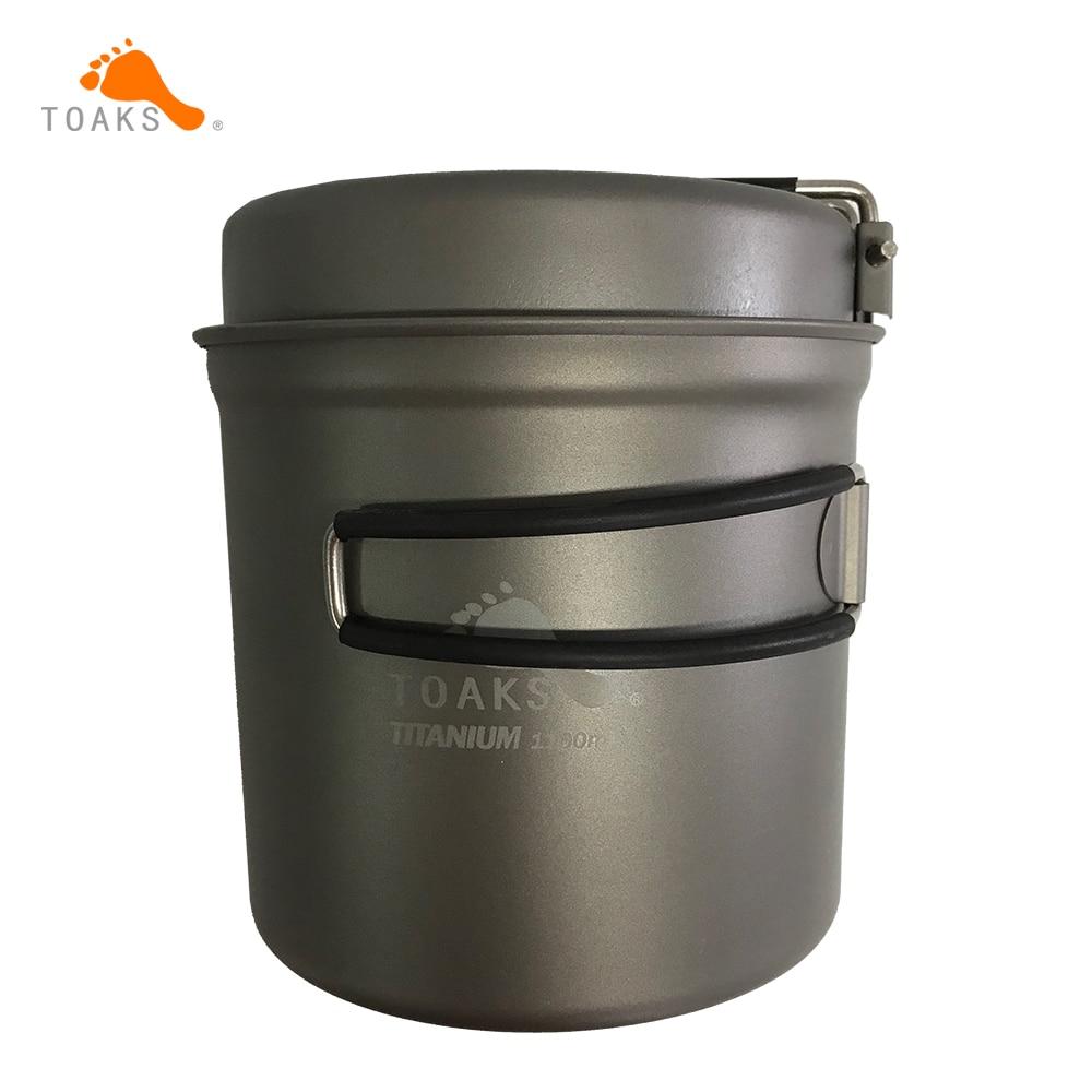 купить TOAKS 1100ml Cookware Set Ultralight Titanium Pot Frying Pan Outdoor Camping Titanium Bowl Titanium Cup Picnic недорого