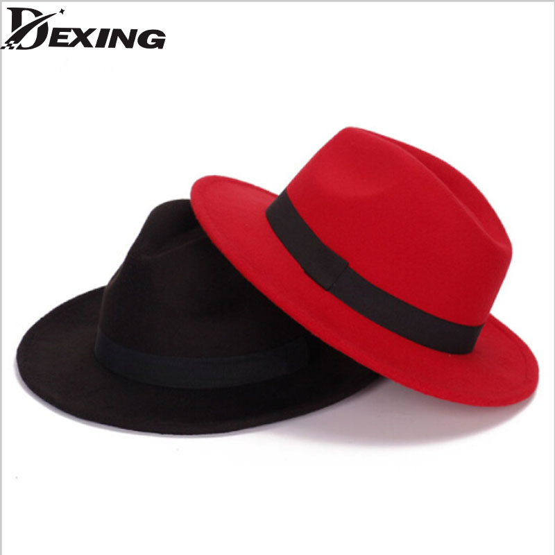 [Dexing]fashion superstar spring wide brim vintage wool felt hats women fedora men felt hat Jazz hats sombrero chapeau femme
