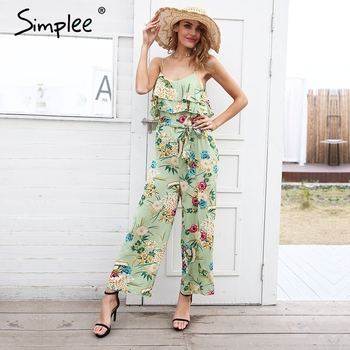Boho floral print strap tiered ruffle jumpsuit
