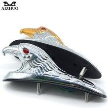 Universal Front Fender Bonnet Emblem Motorcycle Chrome Eagle Head Ornament Statue For Motorbike ATV frames Light