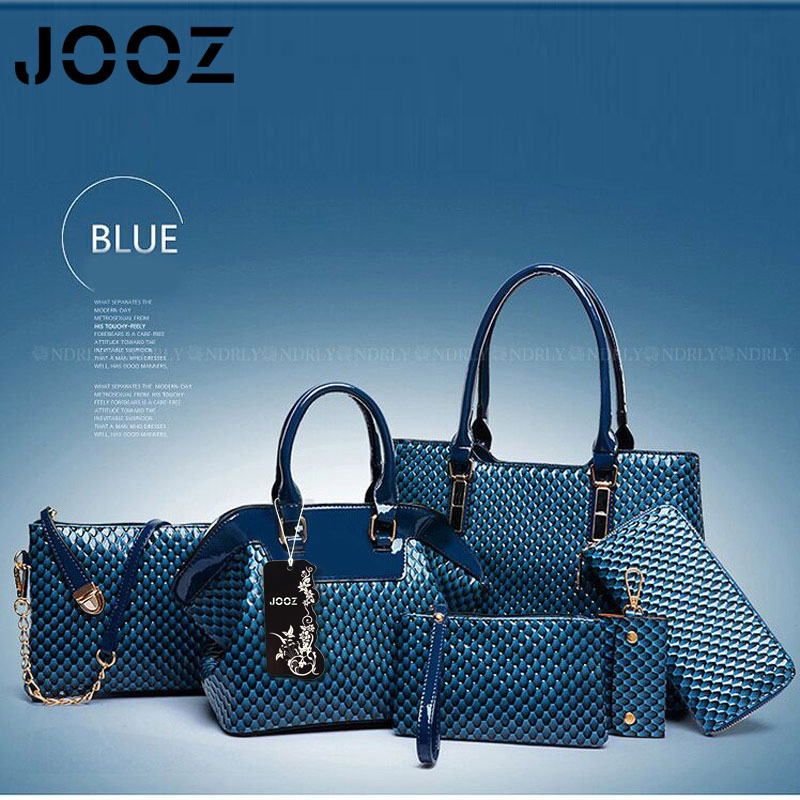 ФОТО JOOZ Brand Luxury 6 Pcs Women Leather bags Set Women Shoulder Crossbody Bags Handbag Purse Clutch Bag