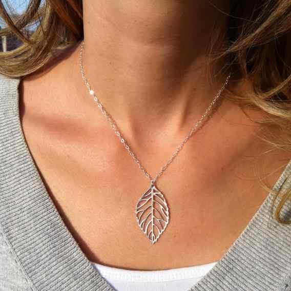 シングルリーフネックレスダブル葉鎖骨ネックレス女性の宝石のペンダント nacklace