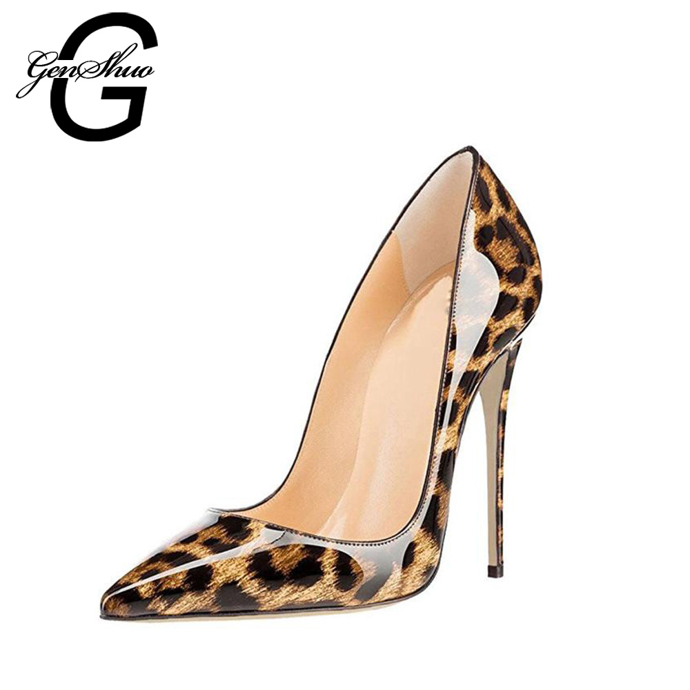 GENSHUO 2018 Sexy Leopard PU Stiletto High Heels Pumps Pointed Toe Woman Shoes Ladies Customize Heel 10 cm 12 cm big size 6-12 big size 40 41 42 women pumps 11 cm thin heels fashion beautiful pointy toe spell color sexy shoes discount sale free shipping