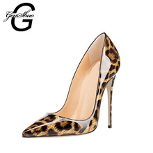 GENSHUO 2018 Sexy Leopard PU Stiletto High Heels Pumps Pointed Toe Woman Shoes Ladies Customize Heel 10 cm 12 cm big size 6-12