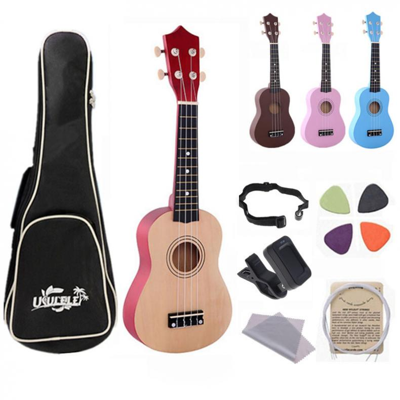 21 Inch Hawaii Four String Guitar Ukulele Beginners Children Christmas Gifts + String + Pick 21 inch ukulele heat shaped sound hole suitable for beginners hawaii four string guitar ukelele bag tuner finger trainer