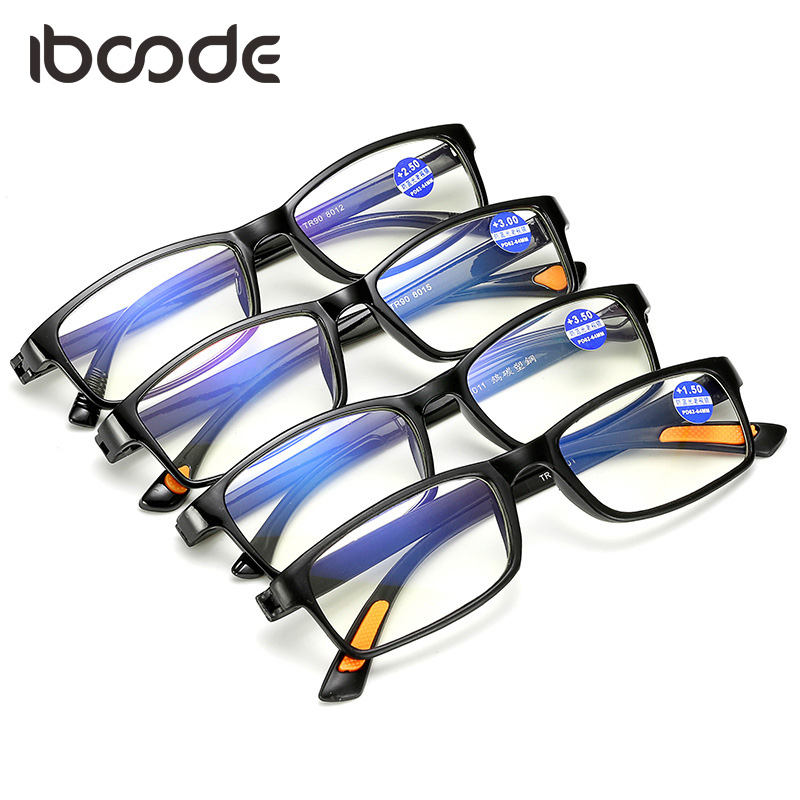 Iboode Blue Film Anti Blue Ray Glasses Ultra Light Toughness Reading Glass Unisex TR90 Flexible Frame Presbyopic Lectura Glasses