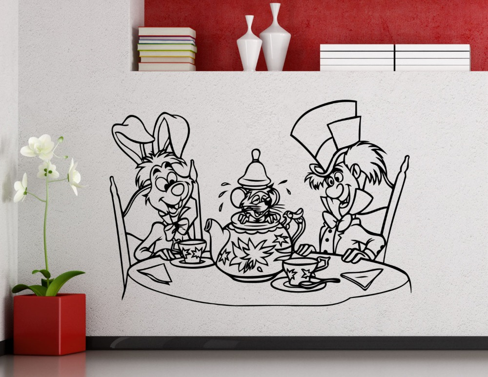 Alice In Wonderland Series Cute Wall Poster Cheshire Cat Hatter Rabbit Sweet Lovely Wall Sticker Foe Kids Bedroom Decor Wm 130