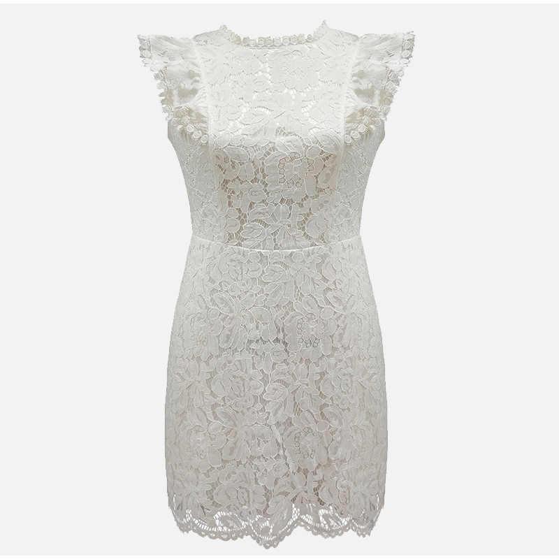 Кружевное платье без рукавов с цветочным рисунком, Белое Женское мини-платье в стиле пэчворк, винтажное облегающее вечернее платье, женское летнее платье, большие размеры 3XL, женское платье