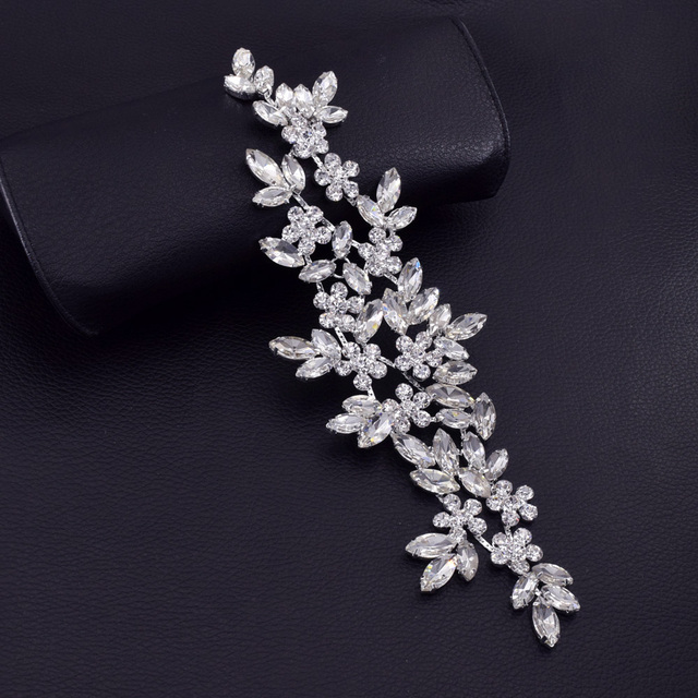 2pcs lot Exquiste handmade flower bridal sash belt crystal rhinestone  patches silver applique beatiful sew on for wedding dress 8f43f0334559