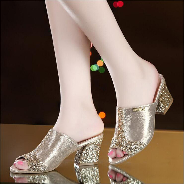 Women sandals 2019 Bling fashion square heel summer lace slippers women sexy Hollow sandals for women size 35-41
