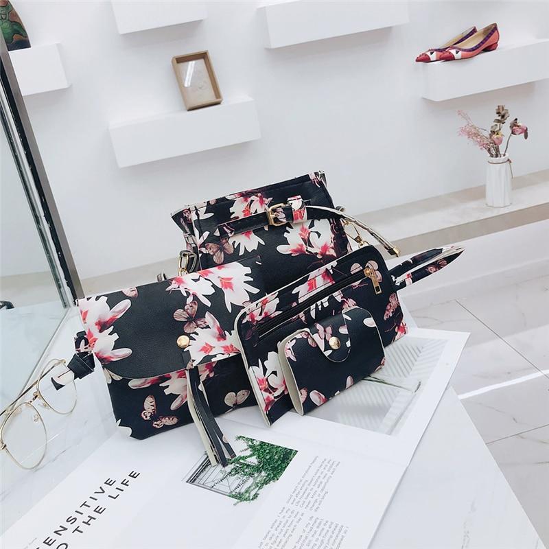 4Pcs/Set Shoulder Messenger Bags Clutch Women PU Leather Crossbody Casual Flower Print Satchel Bags