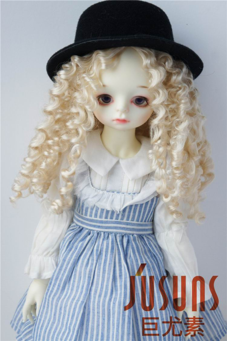 JD073 1/4 1/3 Long curly syntheitc mohair bjd doll wig MSD SD Fashion Middle part line 7-8inch 8-9inch hair doll accessories