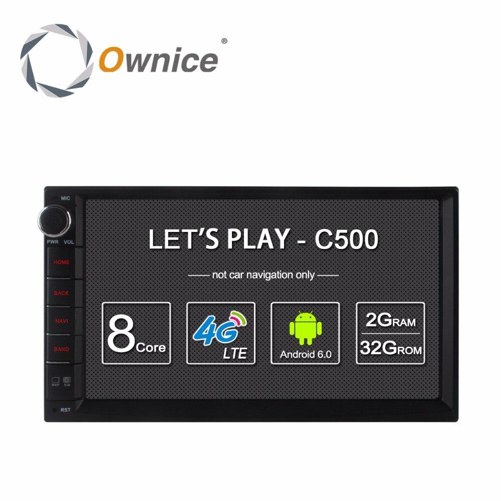 Ownice C500 Android 6.0 Voiture GPS Universel Stéréo Radio 2 Din Lecteur 7 4 core 2 GB RAM 16 GB ROM Soutien DAB + 4G LTE WIFI aucun dvd