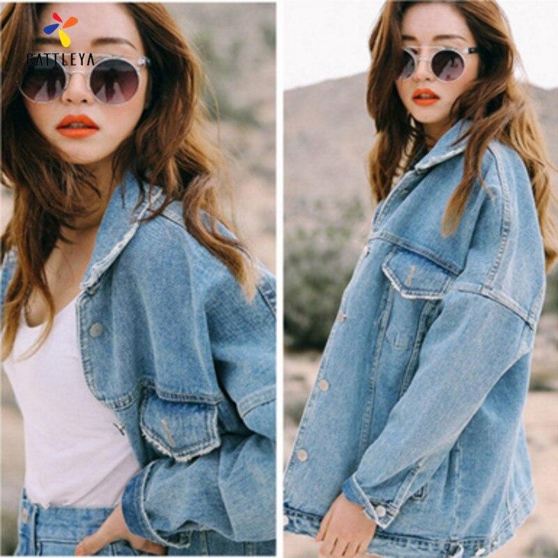 Denim <font><b>Jean</b></font> Jacket Women Vintage <font><b>Jean</b></font> Coat Elegant Hot Fashion Bat Feminino Basic Loose Light Blue 2017 Lady Jackets Basic Coats
