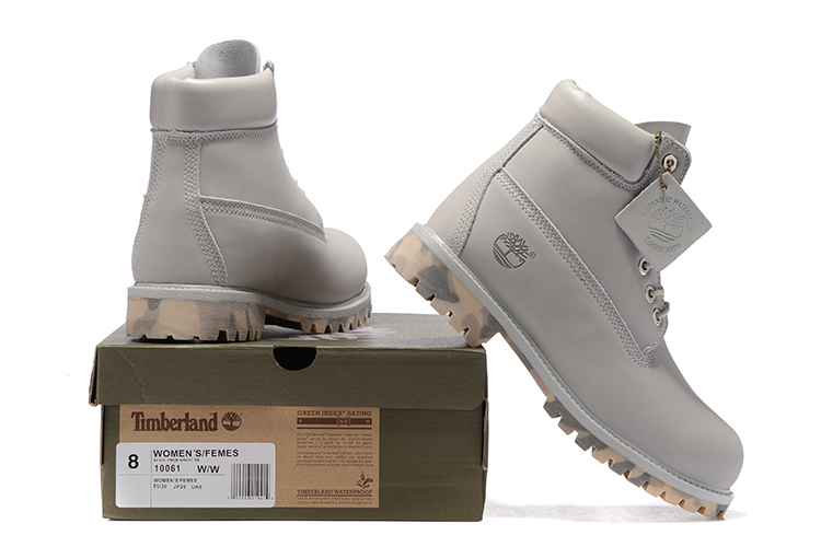 TIMBERLAND Women 10061 Military Camouflage Outdoor Fashion Martin Boots,Woman high-top Leather Ankle Gray Street Casual Shoes  2