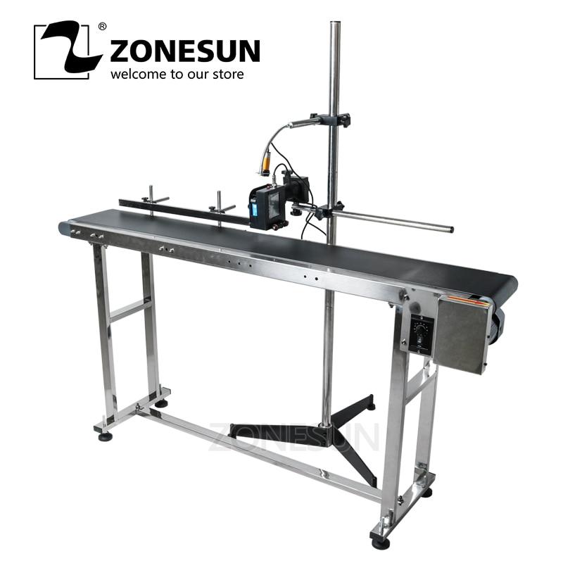 ZONESUN Inkjet Printer Conveyer Conveying Table Band Carrier Sorting Workbench PVC Belt Conveyor Bottle Box Bag Sticker Conveyor