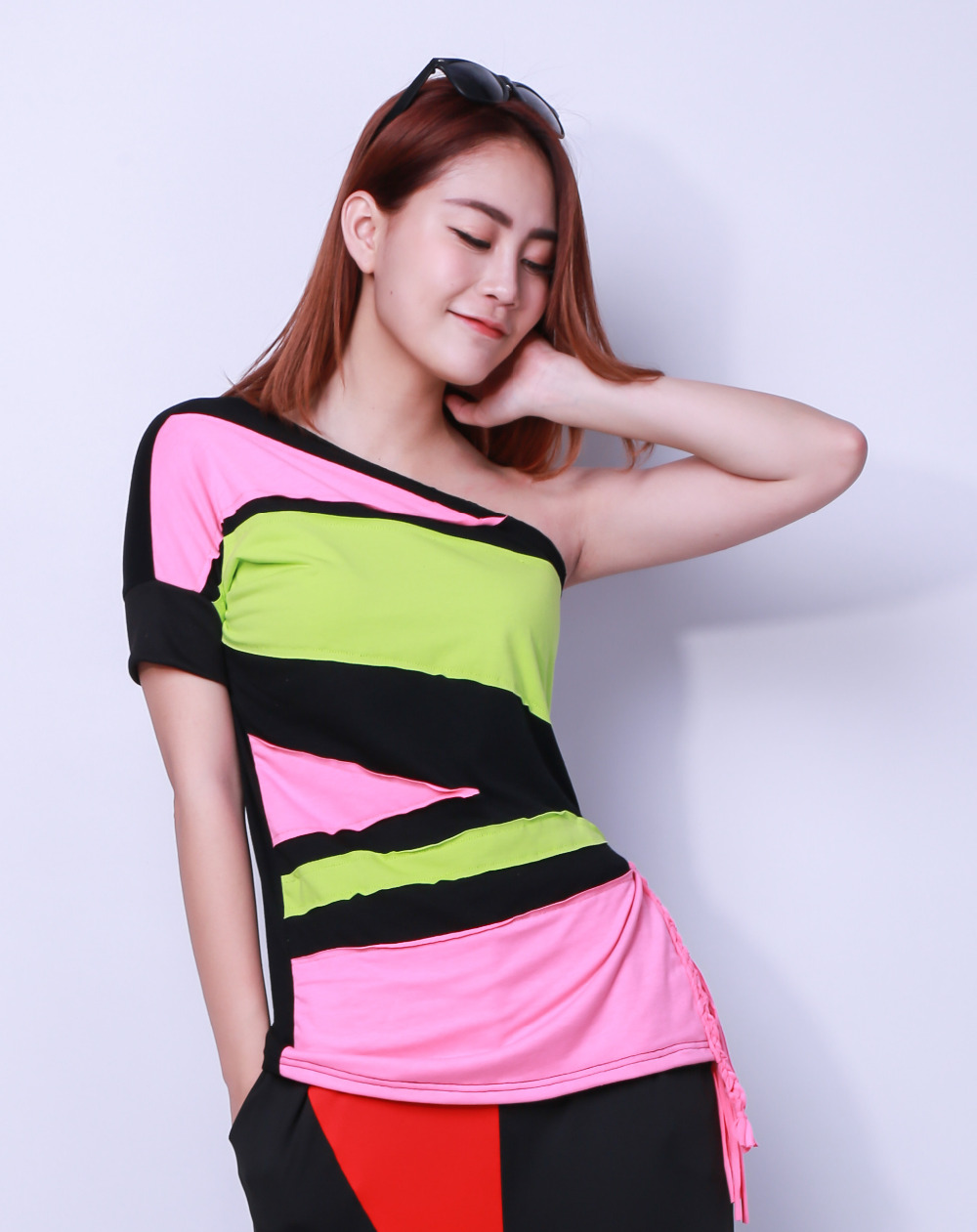 New Fashion Brand Hip Hop Top Dance weiblich Jazz ds Kostüm Performance tragen Patchwork Quaste Sexy schräg Neon Quaste T-Shirt
