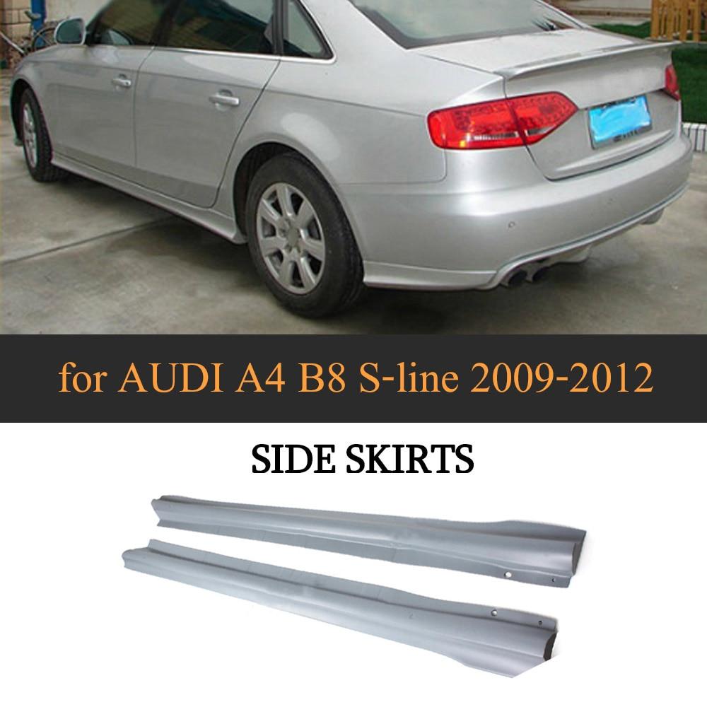 PU Auto Body Aprons Side Skirts for AUDI A4 B8 S-line 2009-2012 2PCS