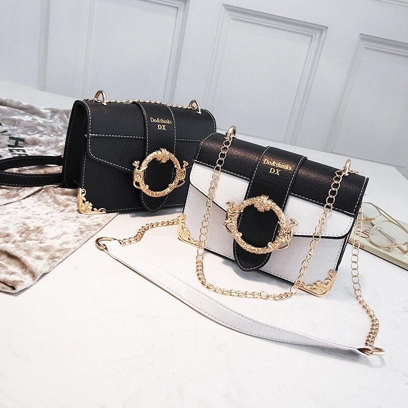 Women Korean Punk Rivet Bag Ladies PU Crossbody Girl Fashion Shoulder Bag Small Chain Messenger Bags Square Package