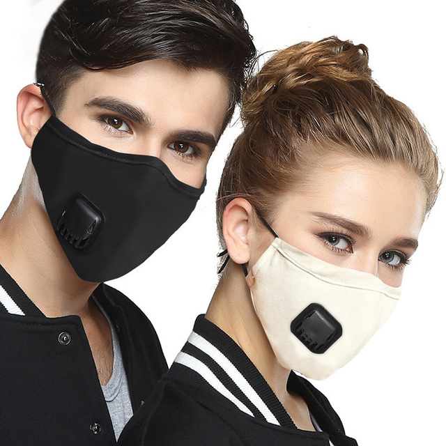 Anti Pollution Air Filter Cycling Face Mask With Respirator Dust Mask PM2.5 Washable Cotton Facemask For Men Women Outdoor Sport
