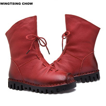 New Fashion Leather Women Boots Winter Shoes Casual Moccasins Women Boots Flat Shoes Handmade Shoes Woman