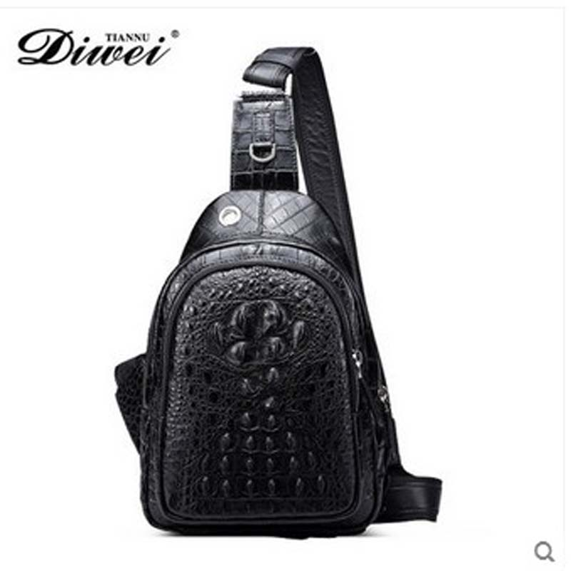 diwei 2017 hot new free shipping real crocodile leather chest package male leisure fashion luxury man bag oblique satchel male 2016 new lady chest pack female leather satchel leisure korean tide printing leather sports backpack bag chest free shipping