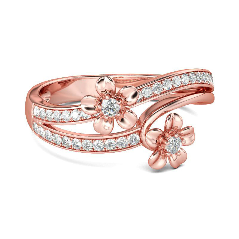 New Arrival Fashion Rose Gold Color Flower Crystal Wedding Rings For Women Finger Rings Party Jewllery Gift Anel
