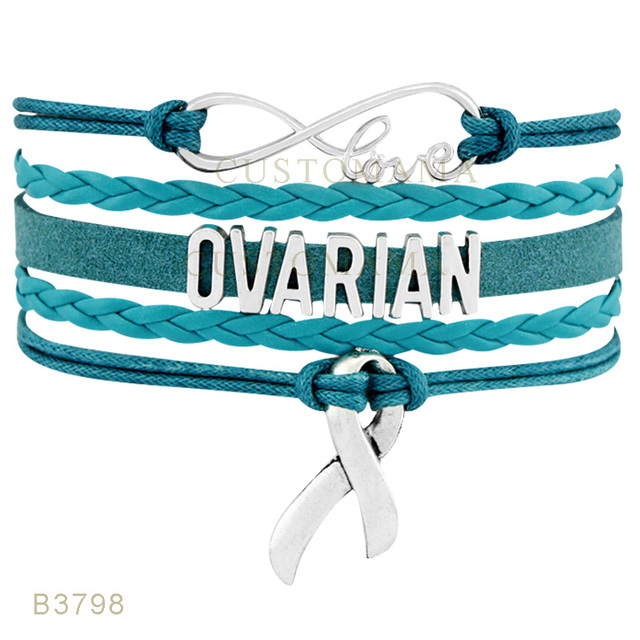 10 Pcs Lot Infinity Love Ovarian Cancer S Awareness Ribbon Charms Bracelets For
