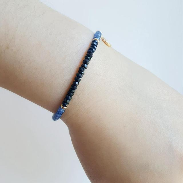 Blue Sapphire Bracelet with Gold Plated 925 Silver Leaf 5