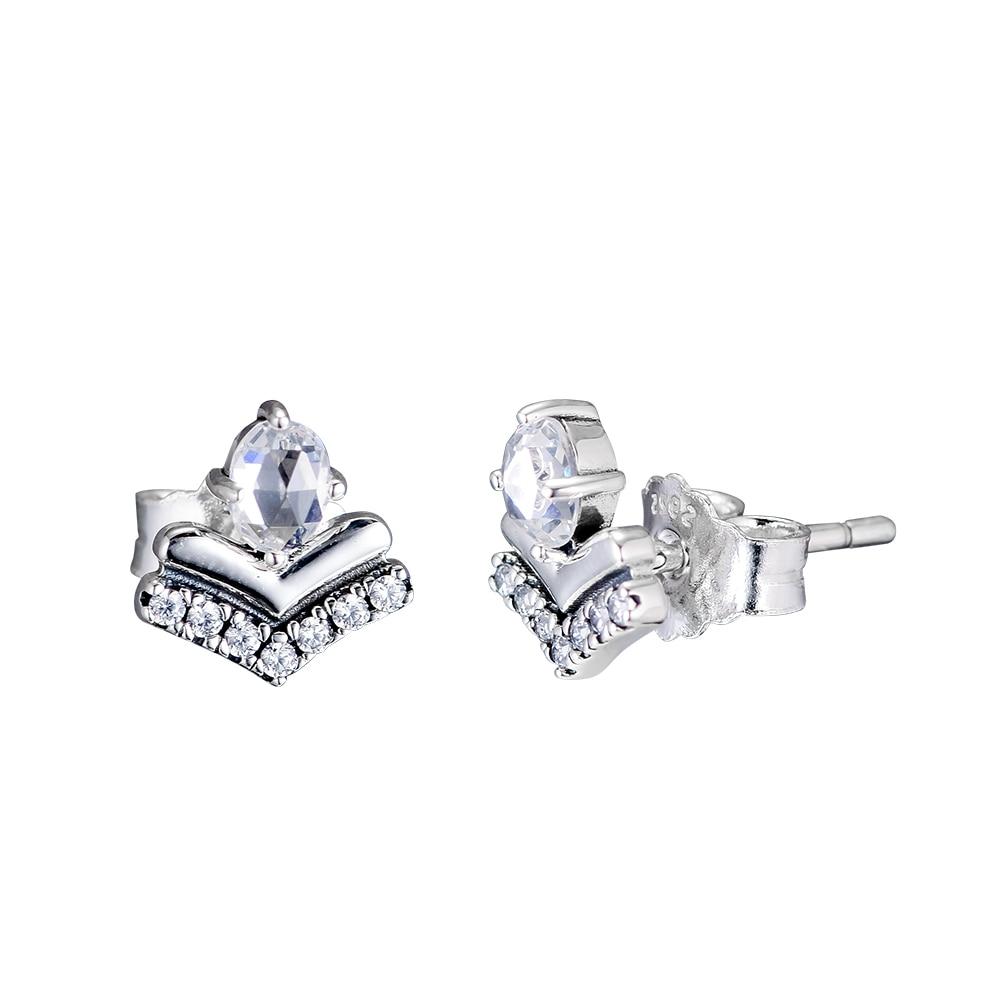 CKK Earring Classic Wishes Stud Earrings Sterling Silver Jewelry 100% 925 Silver for Women Brincos Oorbellen PendientesCKK Earring Classic Wishes Stud Earrings Sterling Silver Jewelry 100% 925 Silver for Women Brincos Oorbellen Pendientes