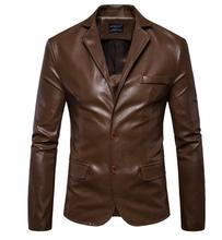 Business Casual suits men blazer masculino slim fit casaco jaqueta masculina faux leather coats mens pu jacket black brown 5XL цена