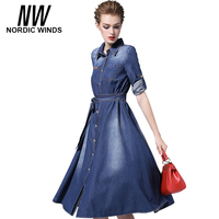 Nordic Winds Womens Clothing Jeans Dresses 2017 Cowboy Style Three Quarter Sleeve Turn Down Collar Bow