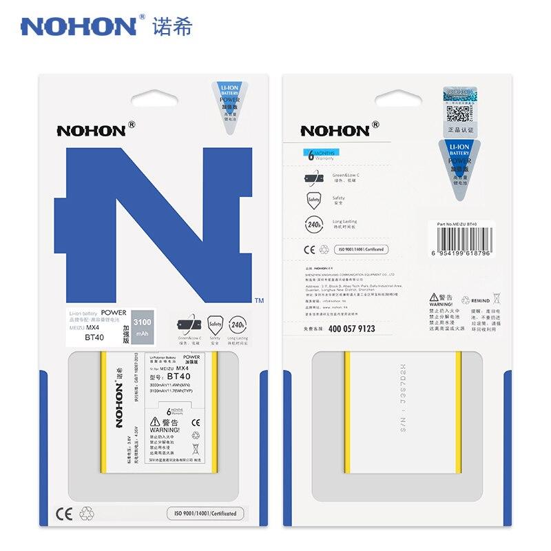 Original NOHON 3100 mAh Batterie Für Meizu MX4 BT40 MX 4 BT 40 Lithium-Polymer Ersatz Batterien Mit Hoher Kapazität Einzelhandel paket