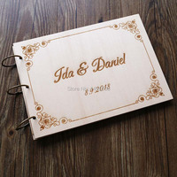 Personalized Wedding Guest Book Rustic Wedding Guestbook Album Custom Wood Engagement Anniversary Gift Hollow Wedding Book