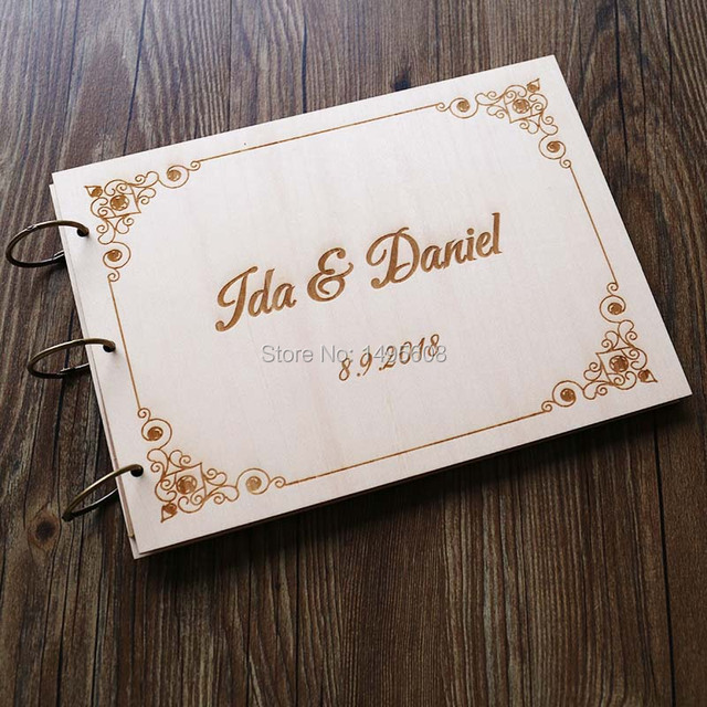 Personalized Wedding Guest Book Modern Wood Guestbook Custom Engagement Anniversary Gift