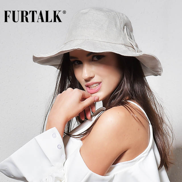 placeholder FURTALK Summer Sun Hats for Women Fashion Design Women Beach  Cotton Hat Foldable Brimmed Bucket Hat b033abeab03a