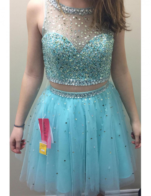 0713a024d648 2016 Cute Short Light Blue Prom Dresses Sequined Tulle Sheer Prom Dress Two  Piece Prom Gowns Cheap Beautiful Party Dress RT64