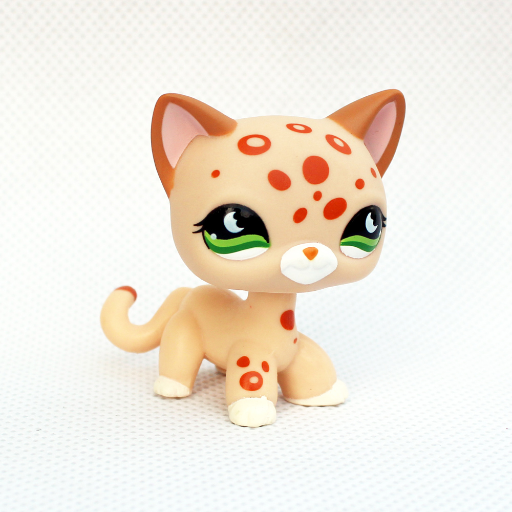 pet shop lps toys real rare short hair cat #852 yellow standing old original Animal collection little