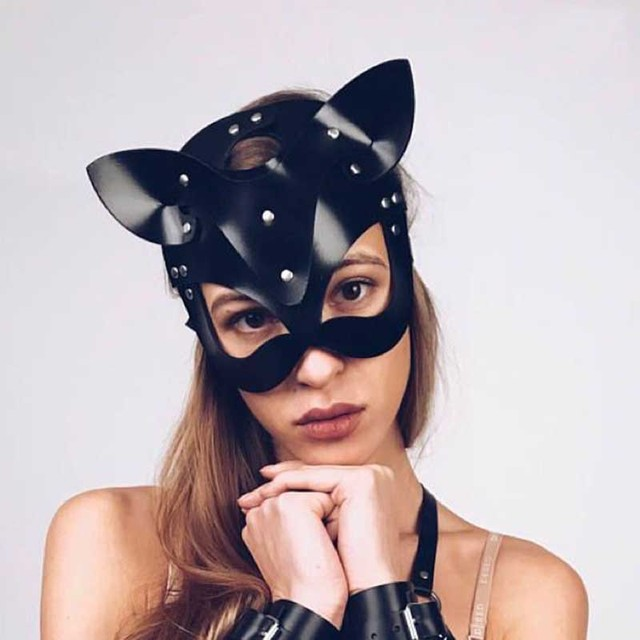High Quality Half Face Cat Masks For Women Faux Leather Bandage Head Mask Accessories Party Cosplay Punk Black Adjustable Masks